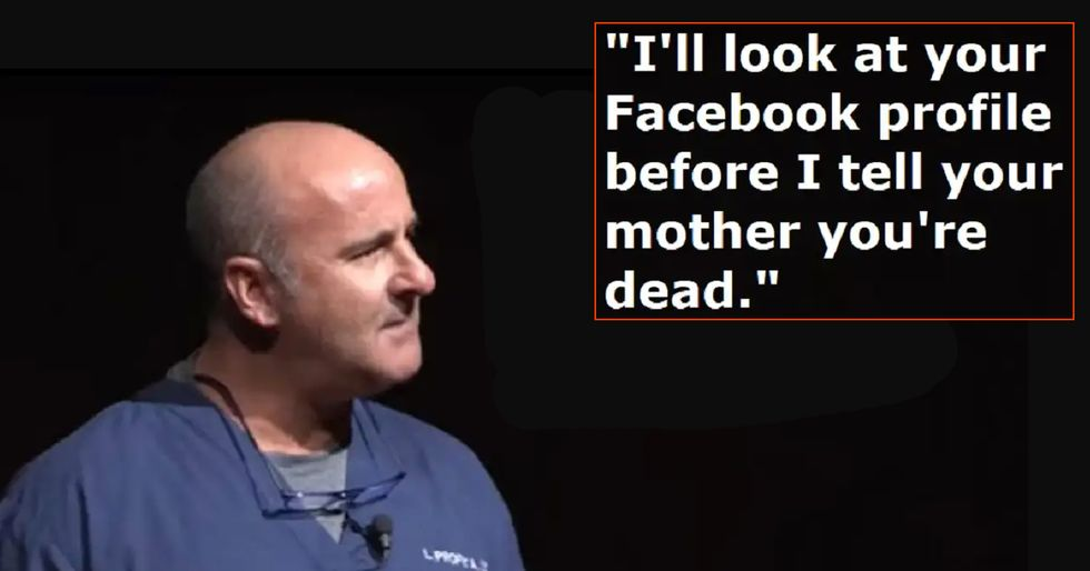 Doctor explains why he checks dead patient's Facebook before notifying their parents.