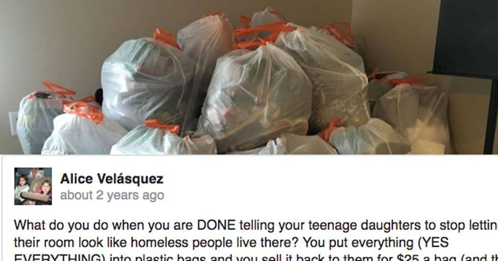 Daughter inspires mom to create devilshly clever 'mystery trashbag' solution to her messy room.