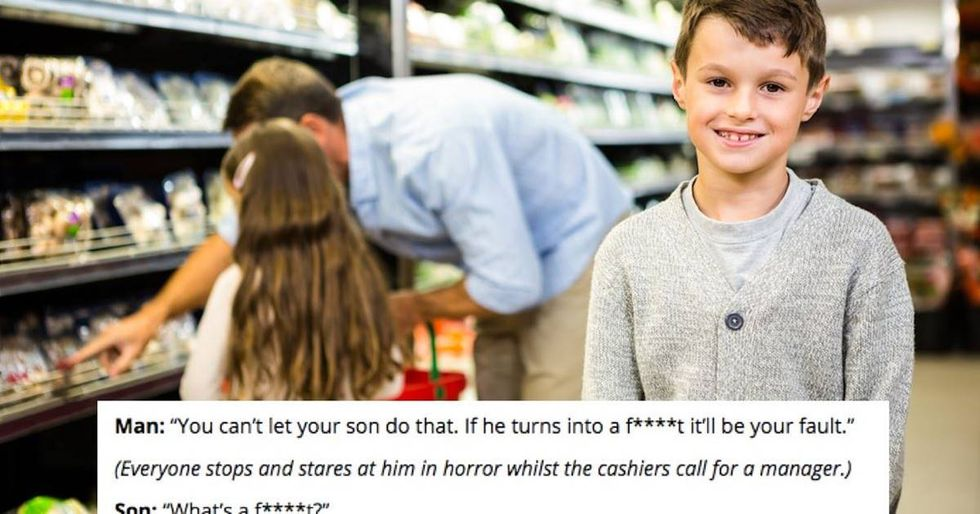 Bigot at supermarket says gay people end up in hell, gets savagely owned by a 7-year-old.
