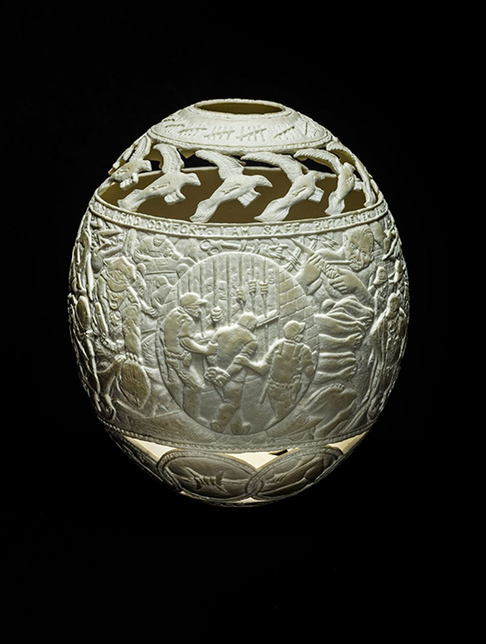 Former Prisoner Depicts Life Behind Bars With Astonishing Eggshell Carvings