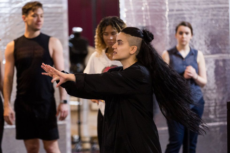 Sonya Tayeh directs three dancers in a Moulin Rouge rehearsal