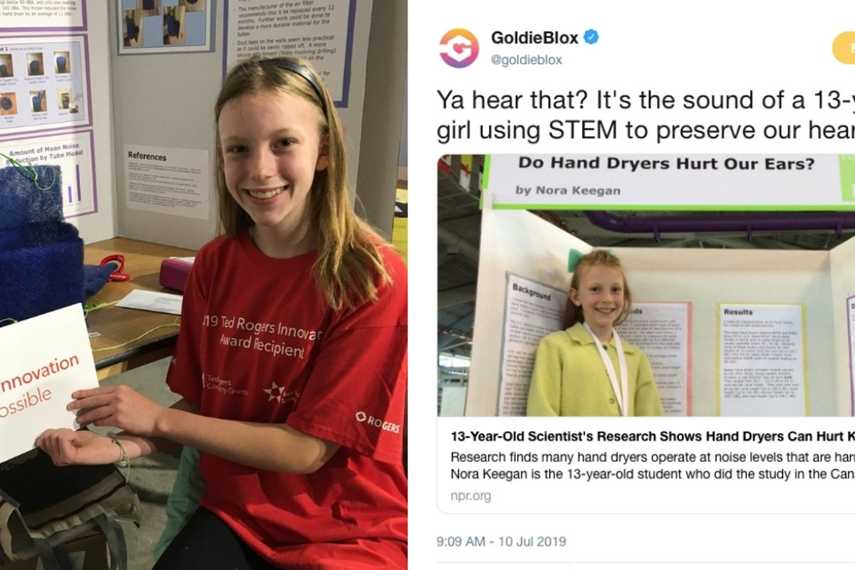 13-year-old publishes scientific paper showing hand dryers can damage kids' hearing.