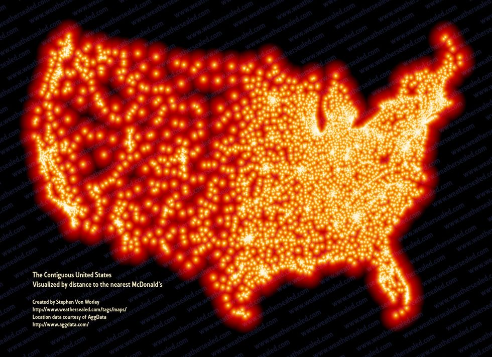 Map Of Mcdonald'S In The Us Map of Every McDonald's in the Country   GOOD