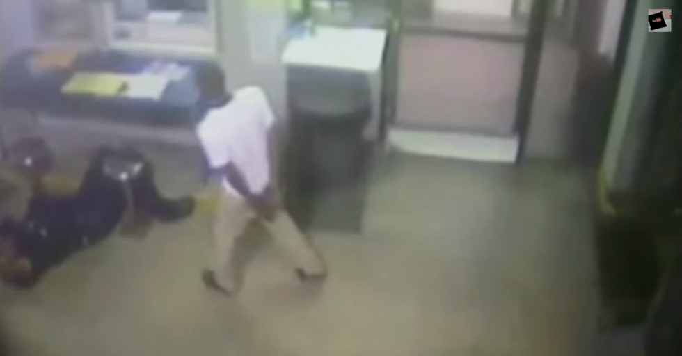 Security Cam Catches Handcuffed Teen Saving Cop's Life