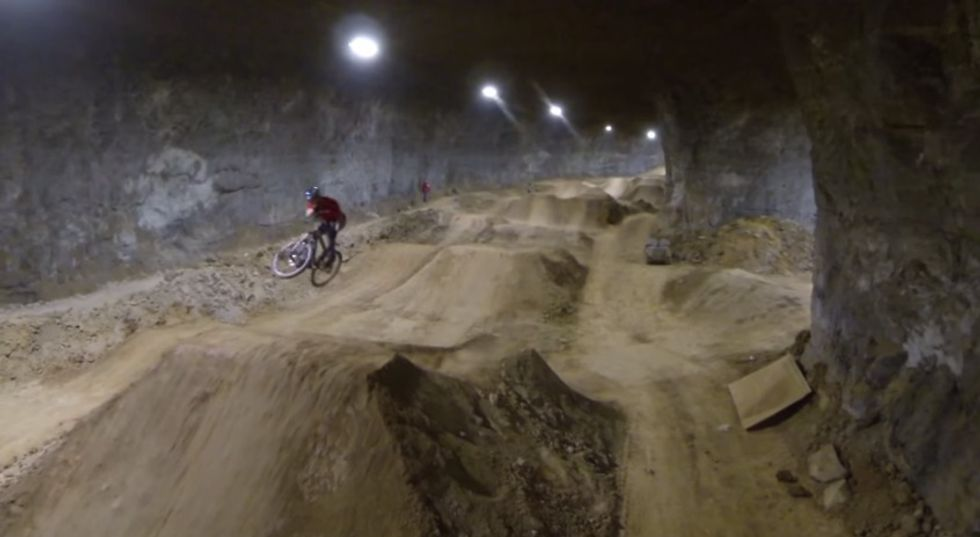 This Abandoned Limestone Mine is Now the World's Largest Indoor Bike Park