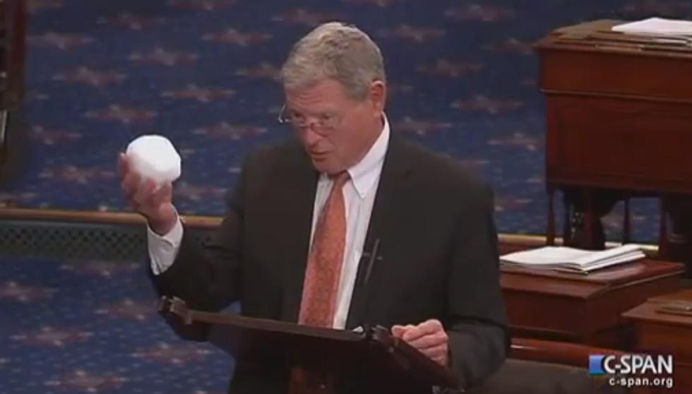 Senator James Inhofe Thinks a Snowball Disproves Climate Change