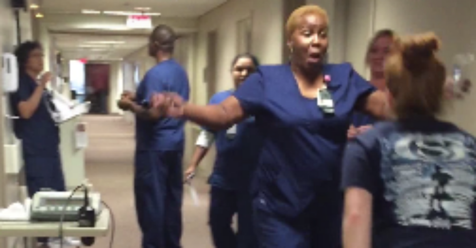 Nurse's Wonderful Reaction to Seeing Paralyzed Patient Walking