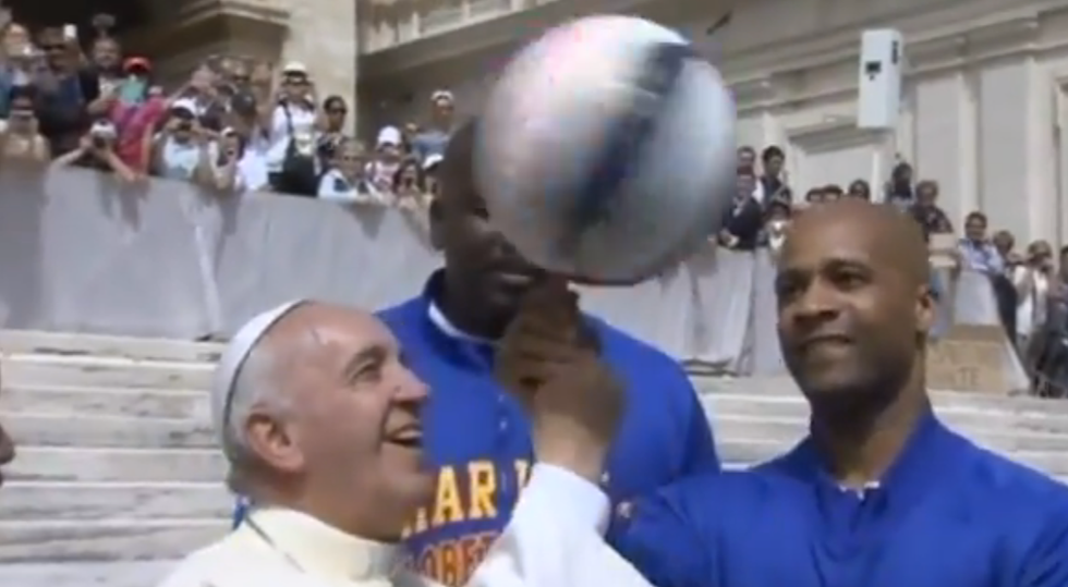Finally, Pope Francis Has Joined the Harlem Globetrotters