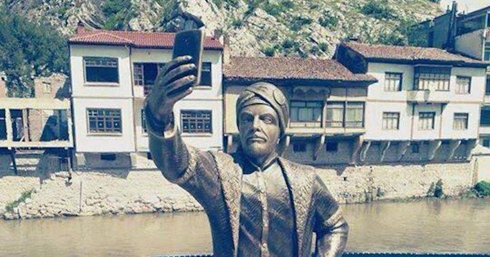 Turkey's New Selfie Statue Immediately Vandalized by Haters