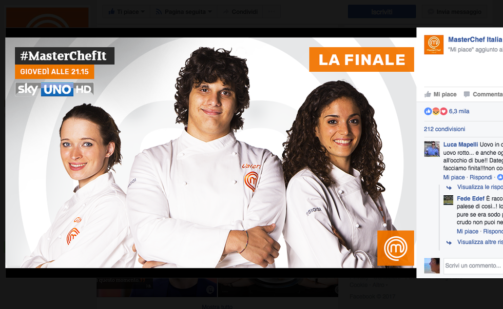 I tre finalisti di MasterChef: Valerio, Cristina e Gloria