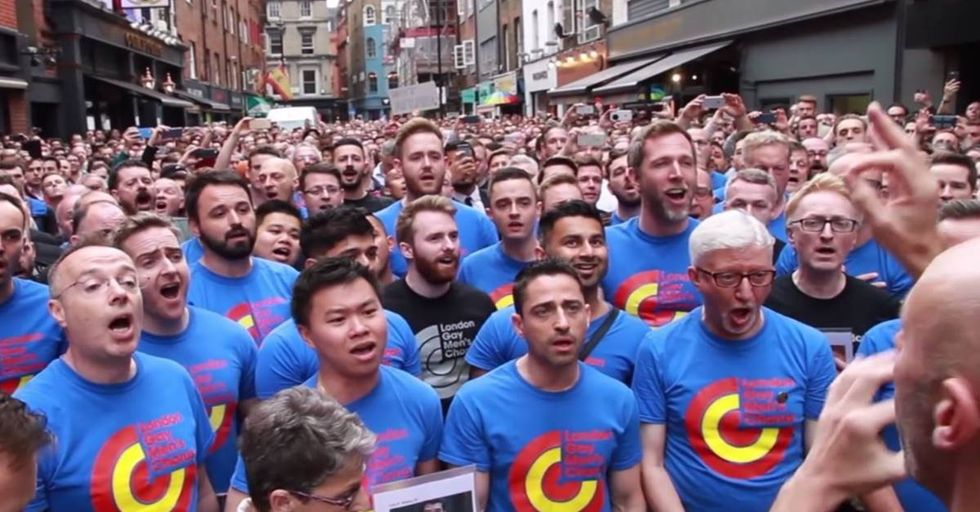 The London Gay Men's Choir Sings 'Bridge Over Troubled Water' For Orlando Victims