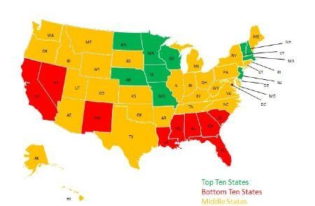 Who's On Top? Color-Coded Maps Rank States' Education Performance - GOOD