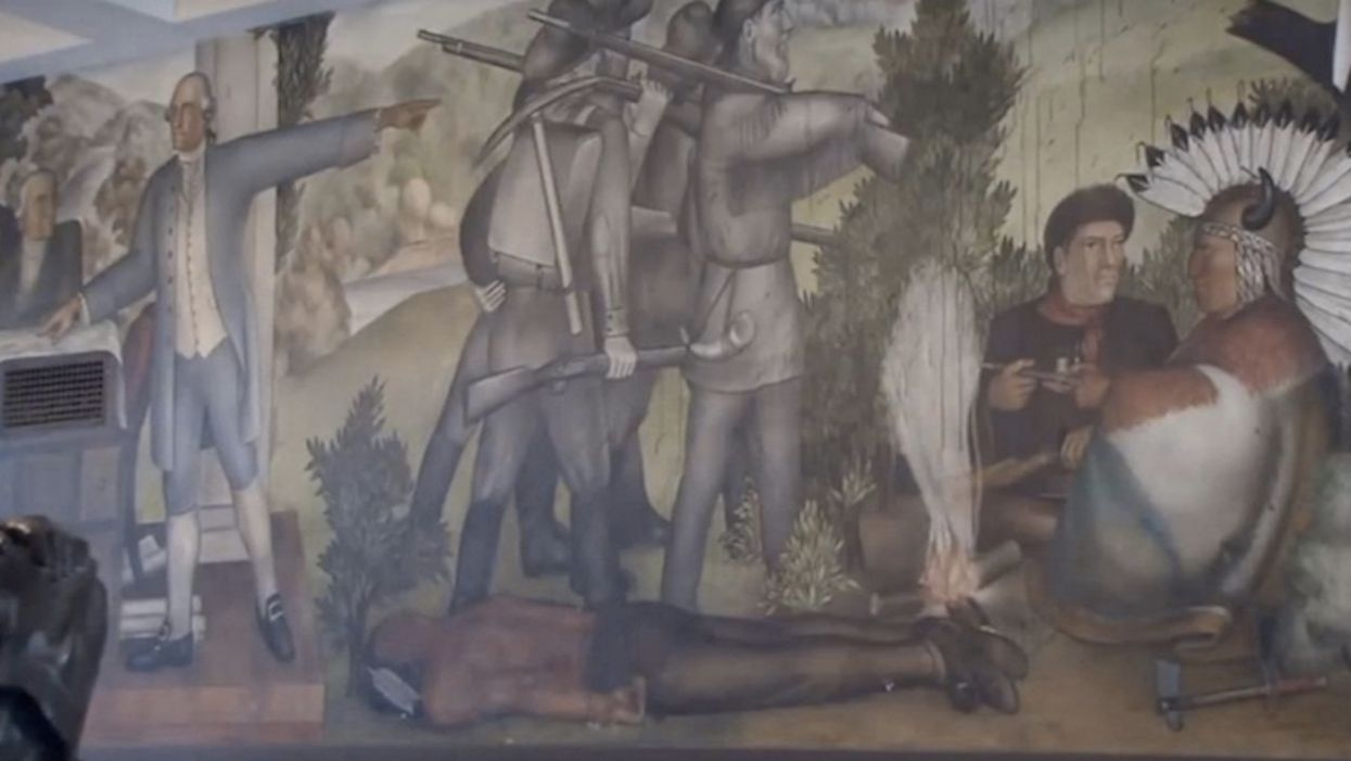 Hundreds of educators protest removal of George Washington mural that 'glorifies ... white supremacy' and 'traumatizes students'