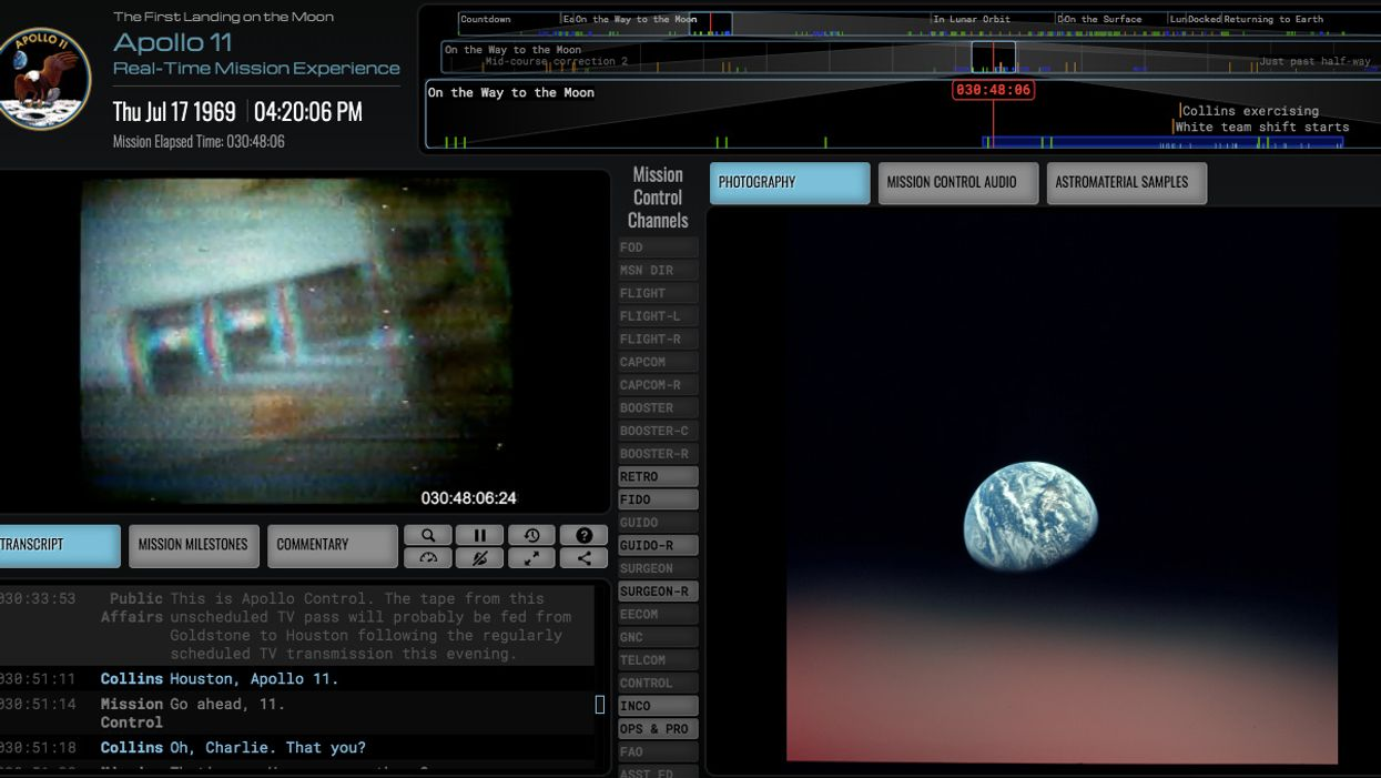 'Apollo 11 in Real Time' website replays every second of historic mission