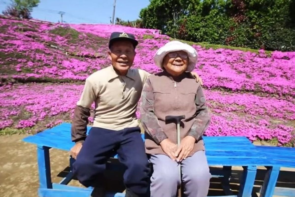Husband spends 2 years planting thousands of flowers to bring his blind wife joy.
