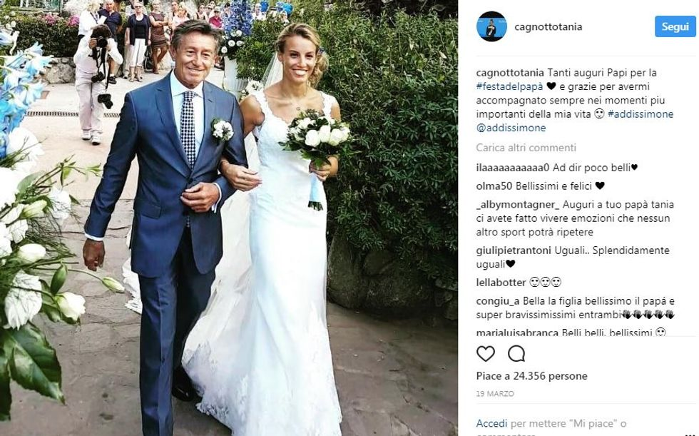 Tania Cagnotto col padre il giorno del suo matrimonio con Stefano Parolin