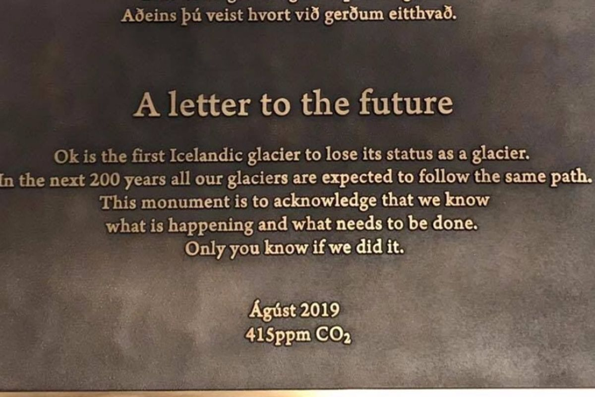 A plaque addressed 'to the future' marks Iceland's first glacier lost to the climate crisis