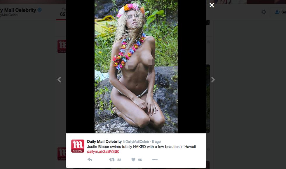 La fiamma di Justin Bieber nuda in vacanza