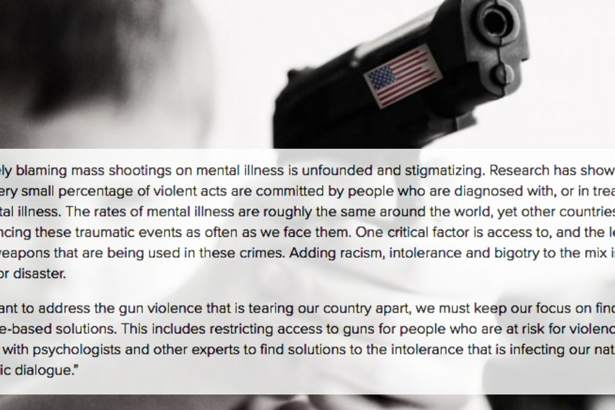 The American Psychological Association says bigotry and gun laws are to blame for mass shootings, not 'mental illness'
