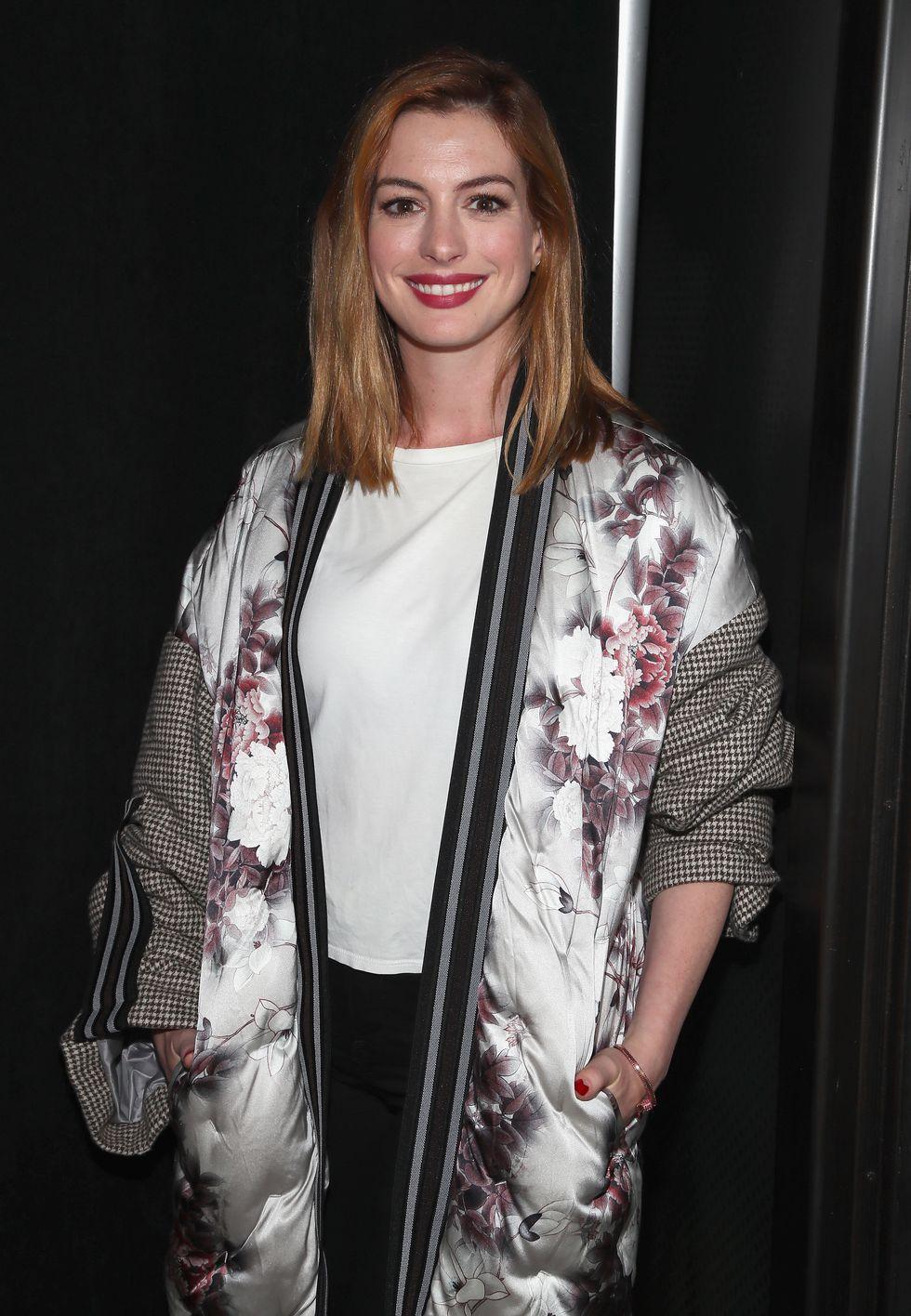 Anne Hathaway en la Fashion Week de NY, 2018