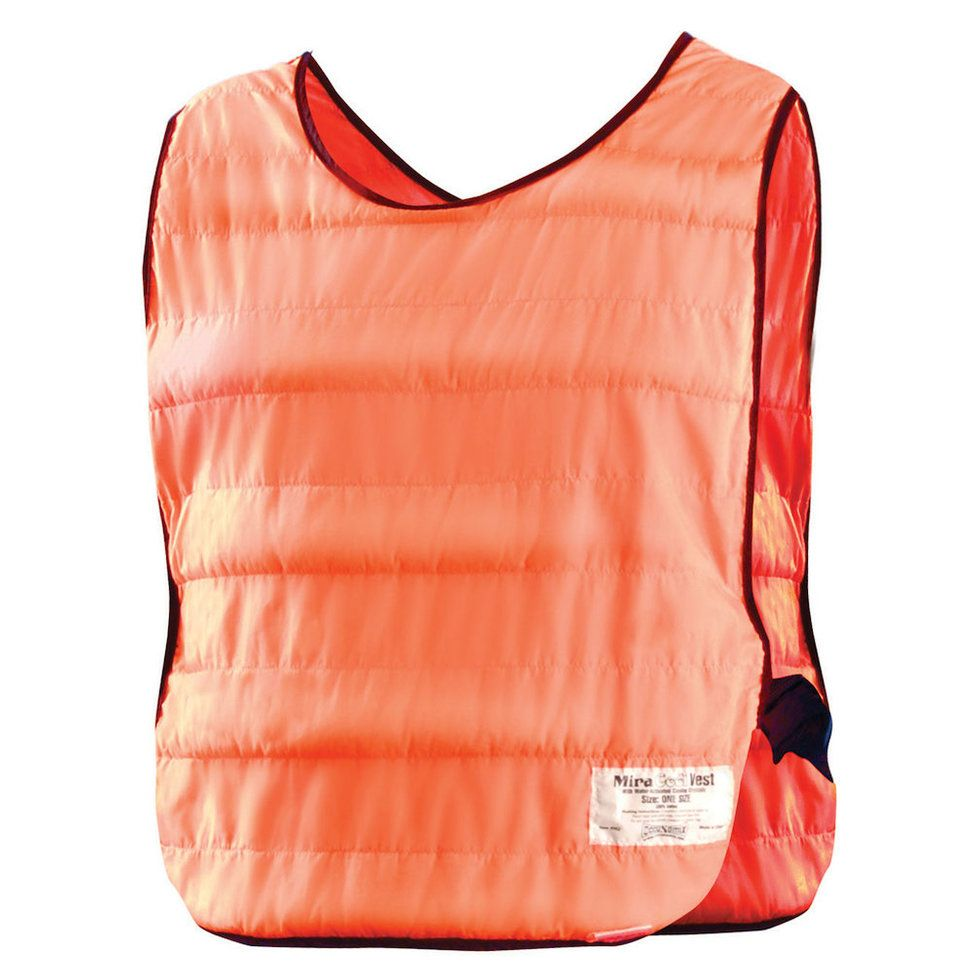 An orange sleeveless vest with horizontal stitching and black piping at the neck