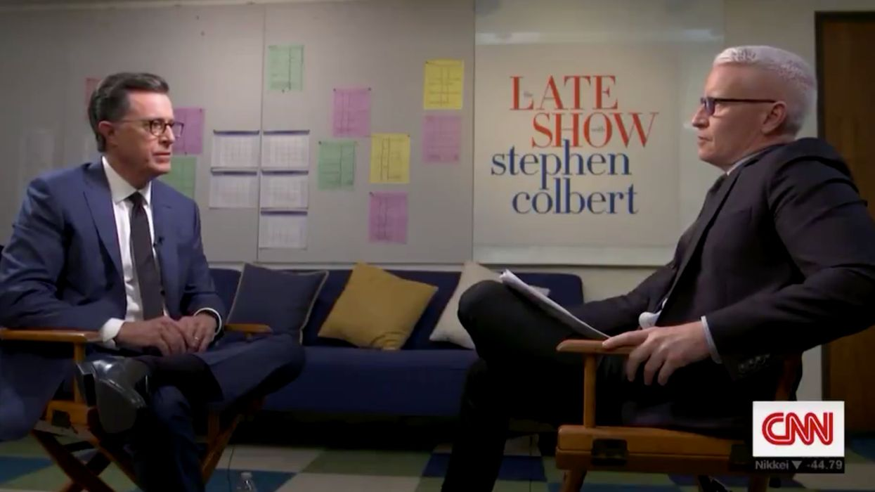 Stephen Colbert's remarks on God, love, and grief move CNN's Anderson Cooper to tears