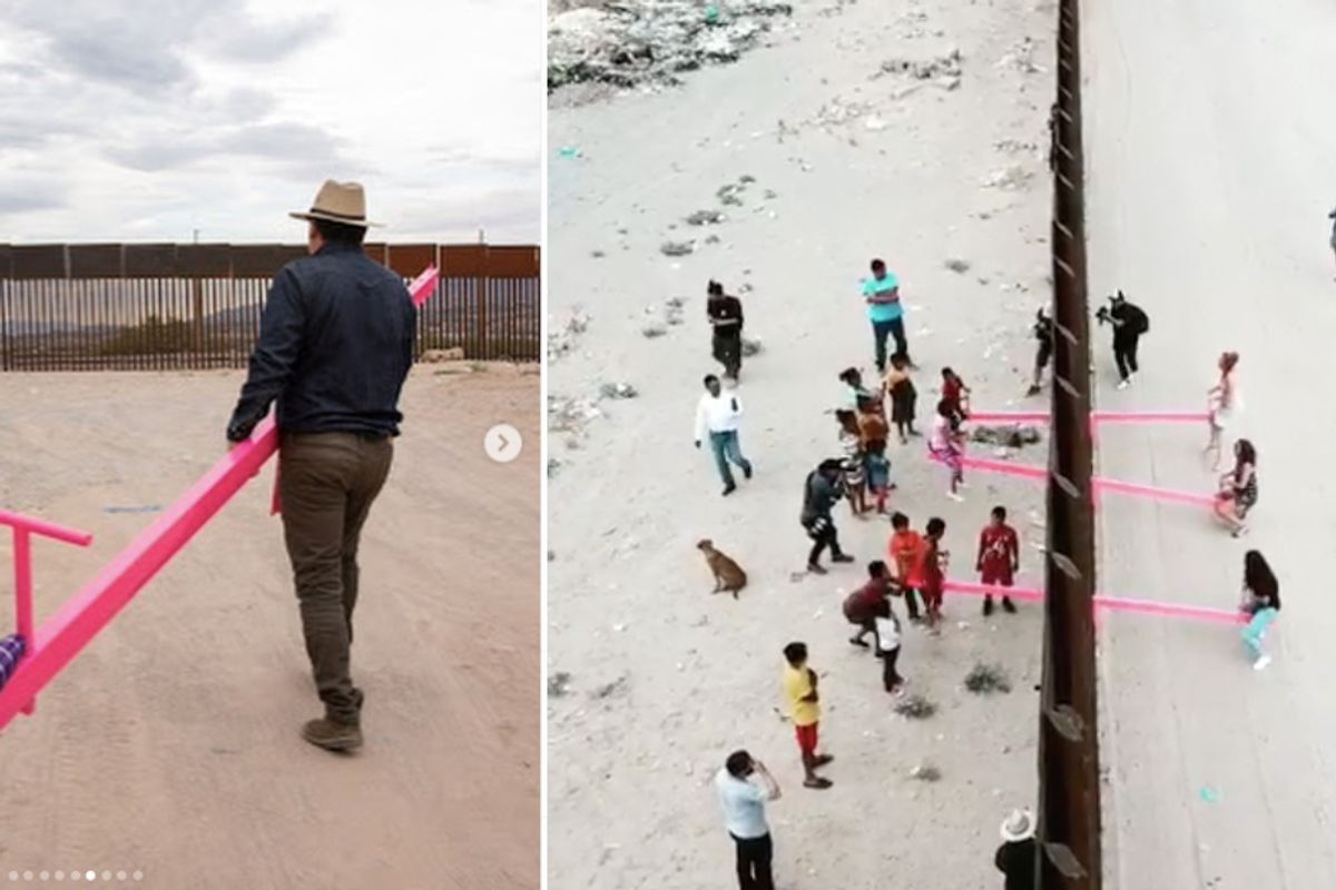 An artist built seesaws into the US-Mexico border and invited kids to play on them