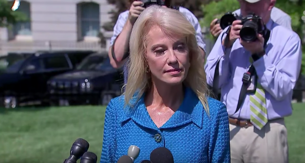 Kellyanne Conway asks a reporter 'What's your ethnicity?' during press conference about Trump's racist tweets.