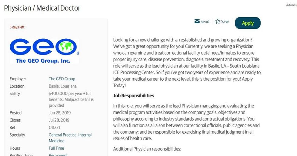An ICE detention center posted a job listing for a doctor but only one 'philosophically committed' to its objectives