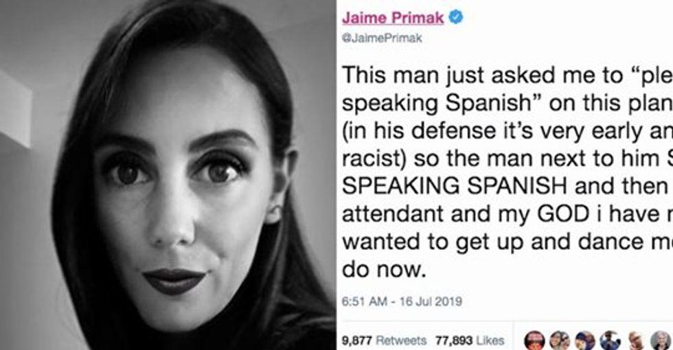 Racist tells woman on plane 'stop speaking Spanish' so other passengers start speaking Spanish.