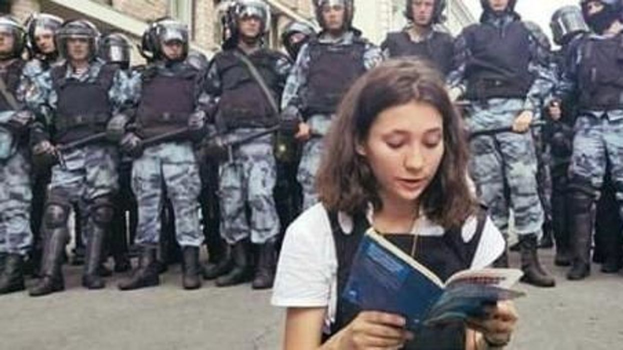 Teenager who read constitution in front of Moscow police becomes a symbol of Russian resistance