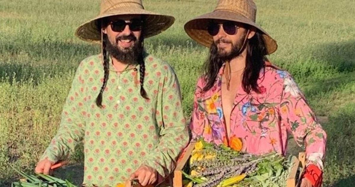Jared Leto And Alessandro Michele Garden Together In Head To Toe Gucci