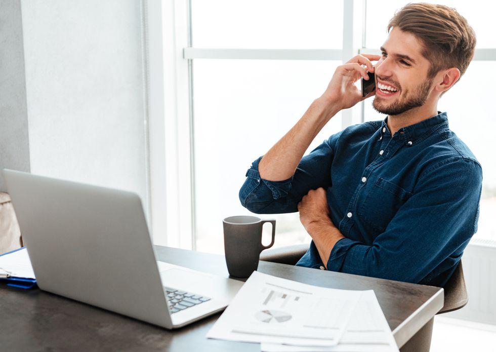 Job seeker showing interest during phone interview