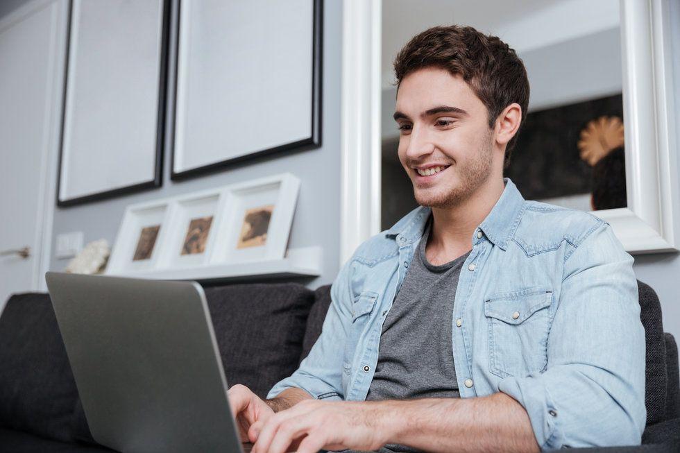 Job seeker researching before phone interview