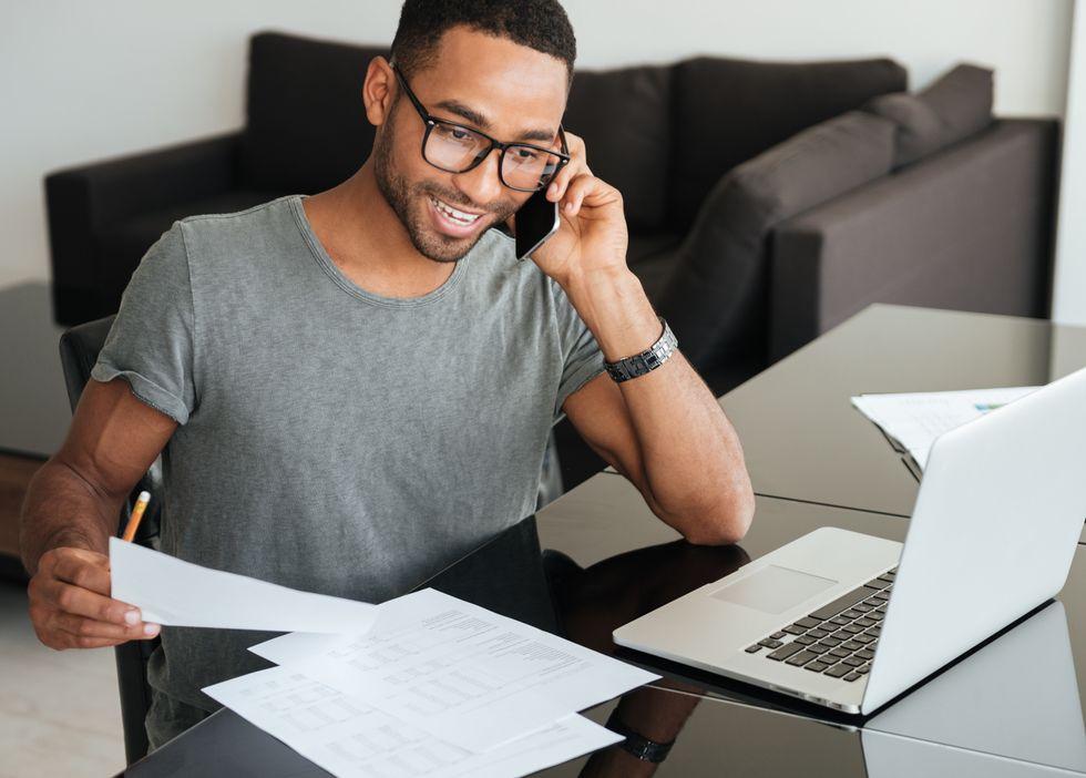 Job seeker acing phone interview