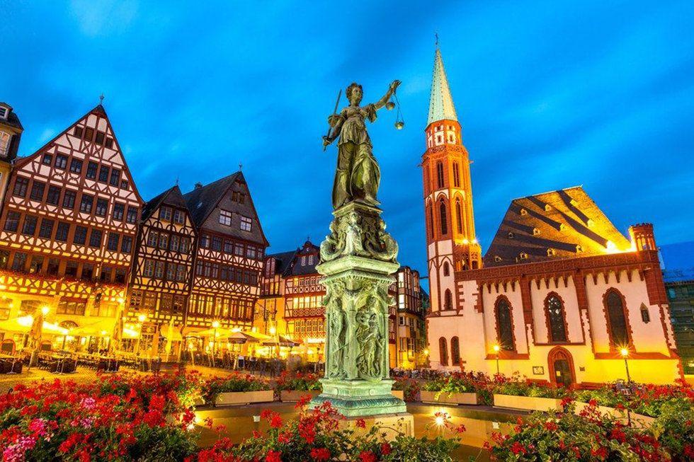 Old Town skyline in Frankfurt, Germany