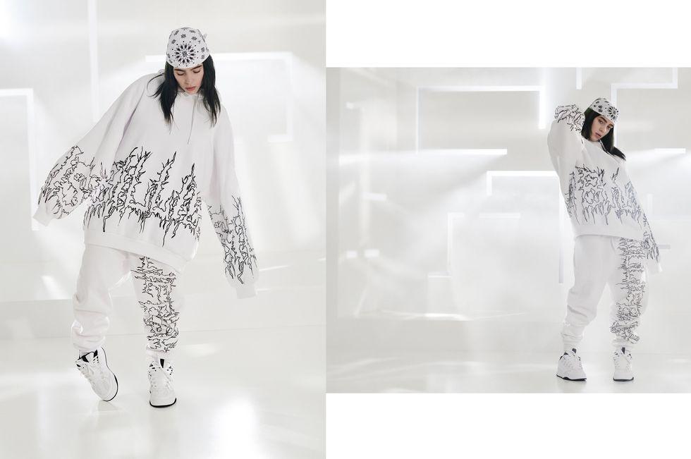 bershka billie eilish coleccion fotos video sudadera pantalon blanco
