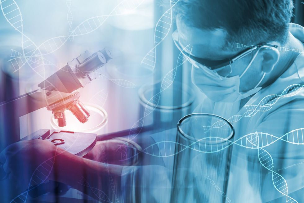 science-Digital Composite Image Of Male Scientist Experimenting In Laboratory