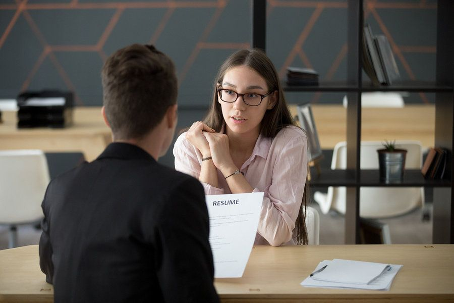 Job candidate answers a behavioral interview question with the STAR technique
