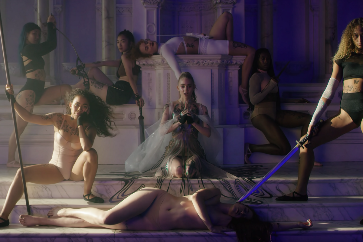 Grimes Serves Choreo With Sword Fighters in 'Violence'