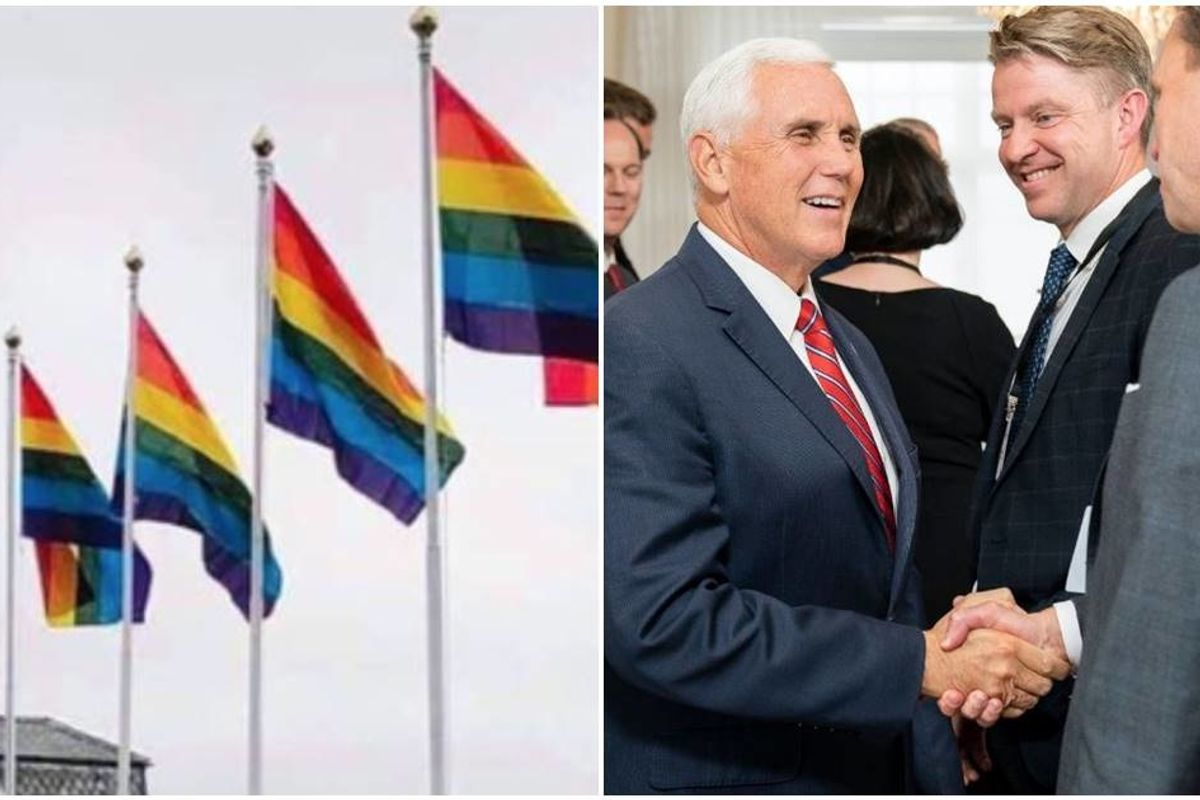 When Mike Pence arrived in Iceland he was greeted by a fabulous display of gay pride flags