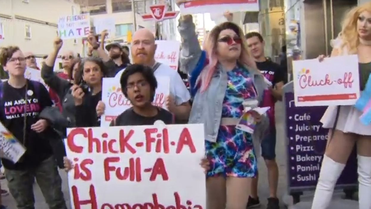 LGBTQ group, drag queens, animal-rights activists protest Toronto's first Chick-fil-A — and hungry customers walk right past 'die in'