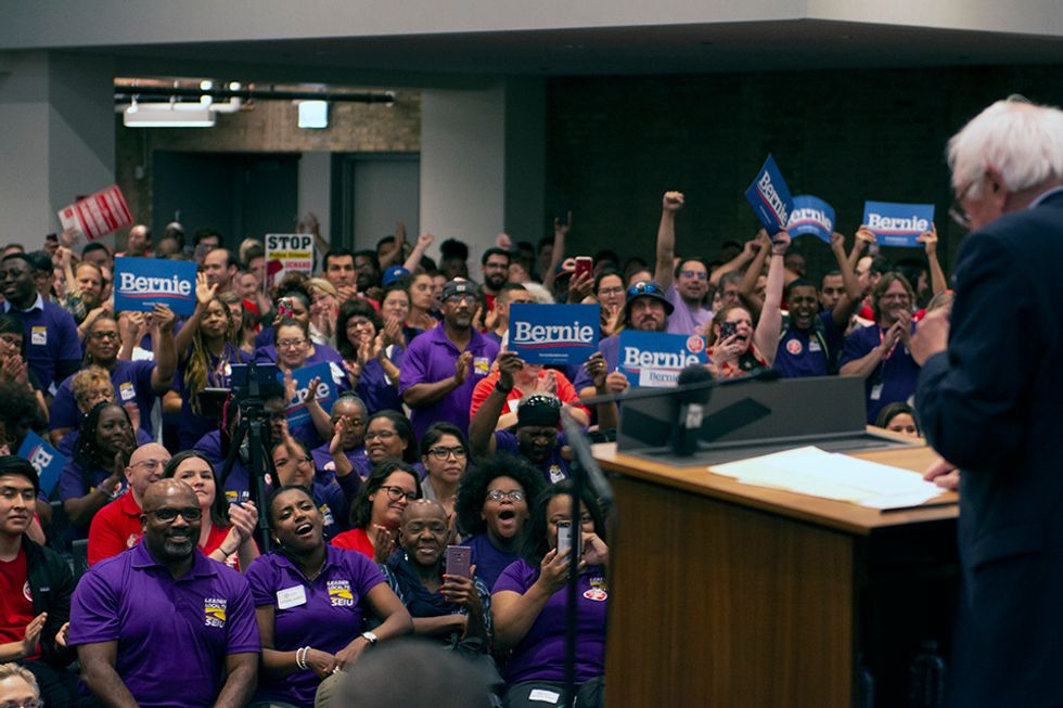 Sen. Bernie Sanders holds rally in Chicago with SEIU and CTU members who are on the verge of a strike.