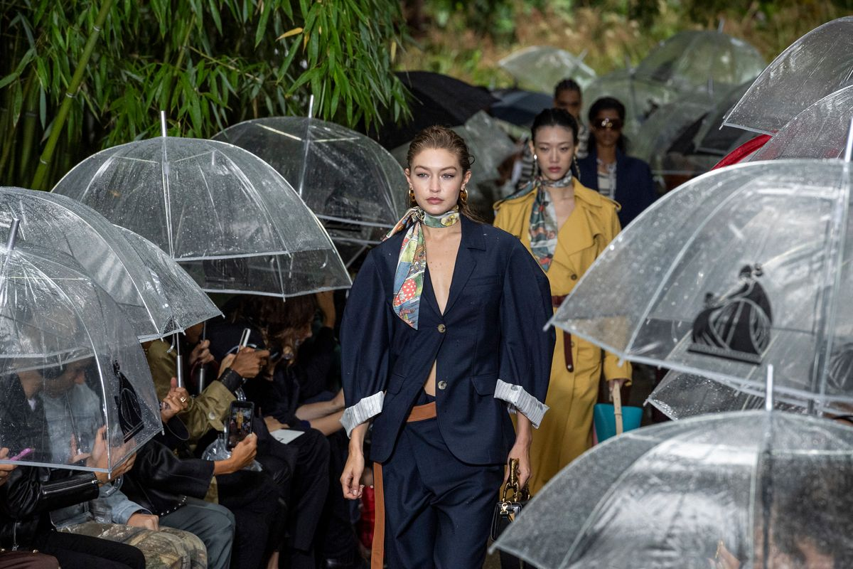 Gigi Hadid Stormed the Lanvin Runway Despite Heavy Downpour