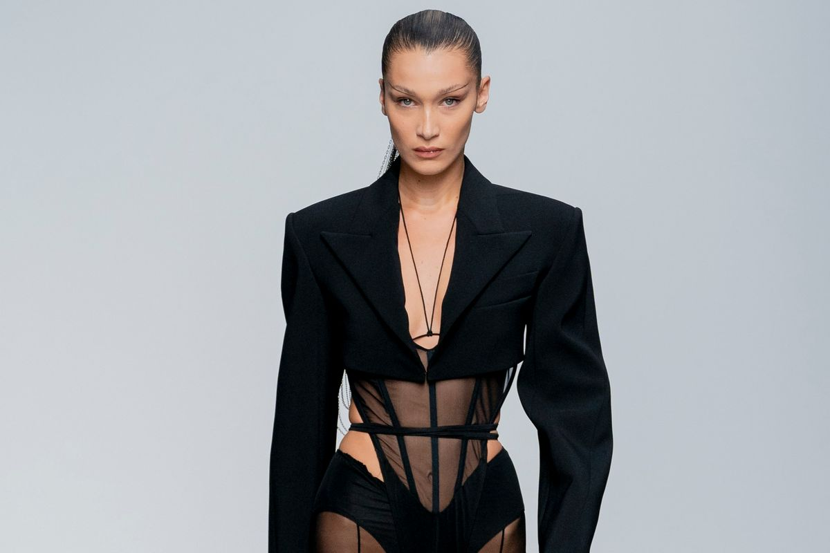 Bella Hadid Slays Mugler Runway in Pants-Less Look