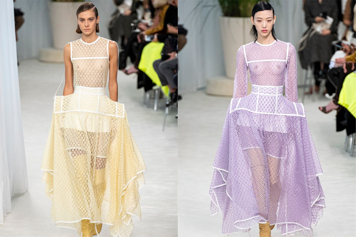 Loewe Showed Pannier Wide-Hipped Dresses at PFW