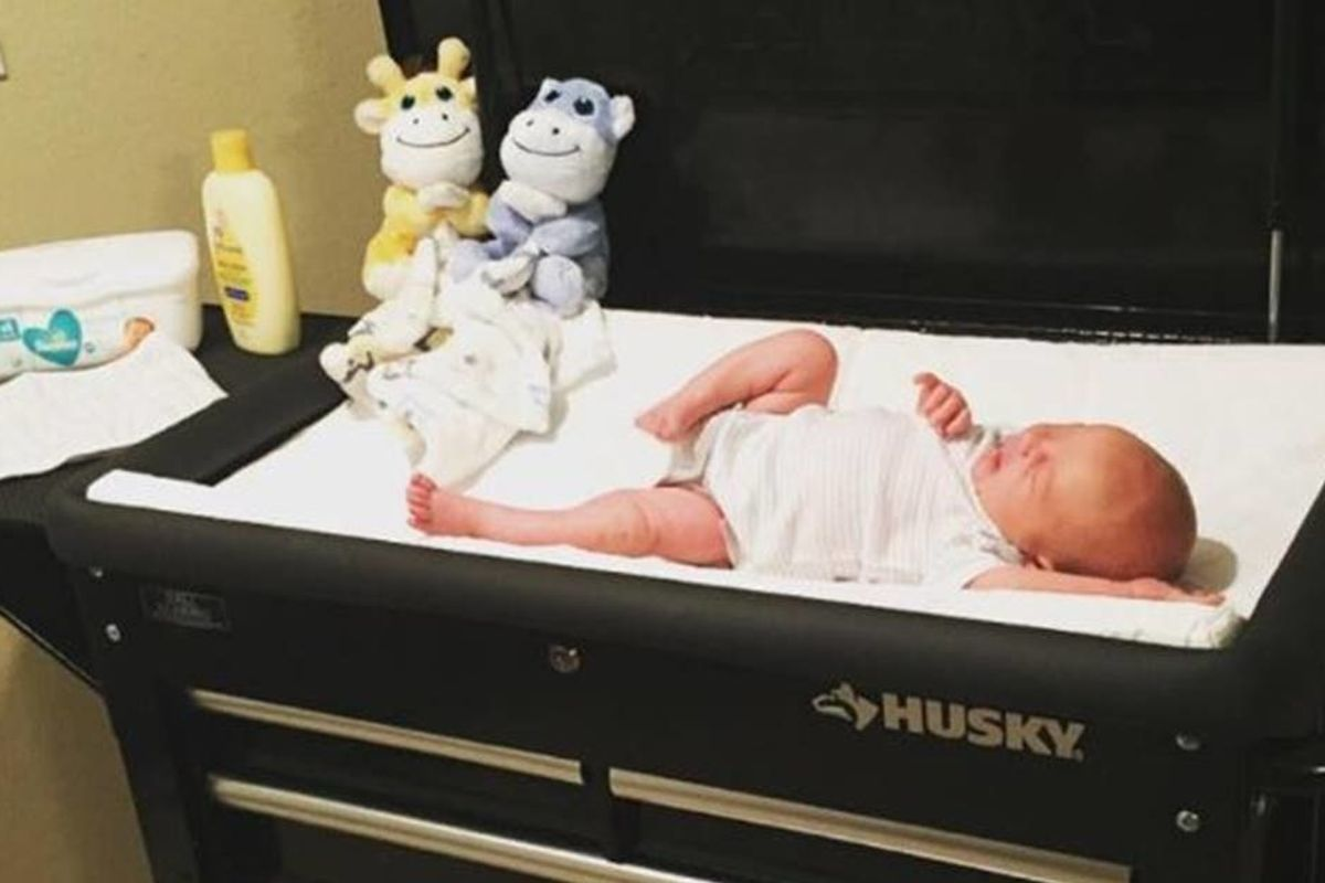 Mechanic dad had twins on the way so he created a brilliant 'out of the box' changing table