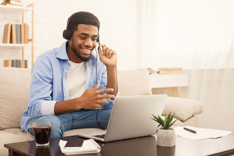 Man preparing for a Skype interview