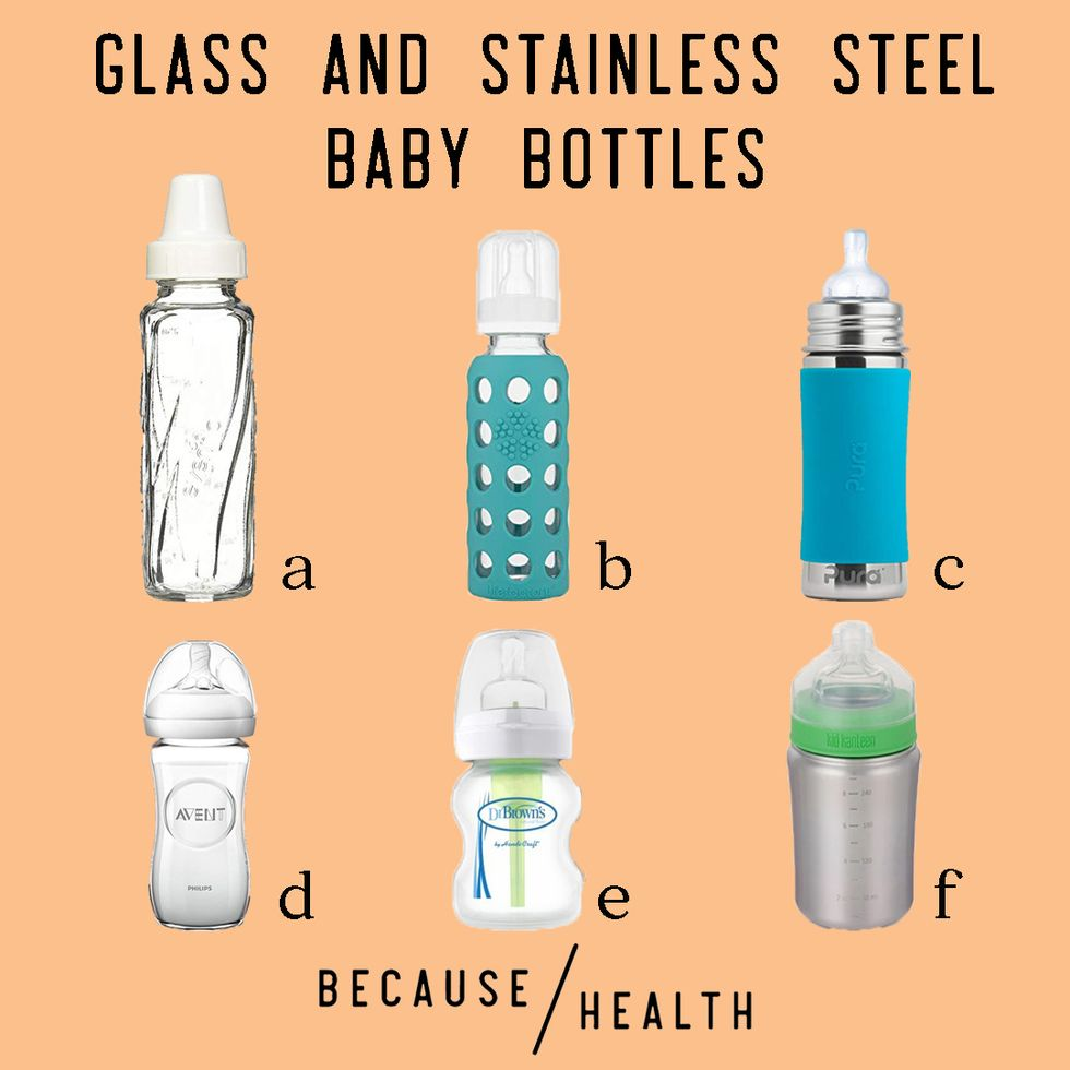 6 Glass and Stainless Steel Baby Bottles