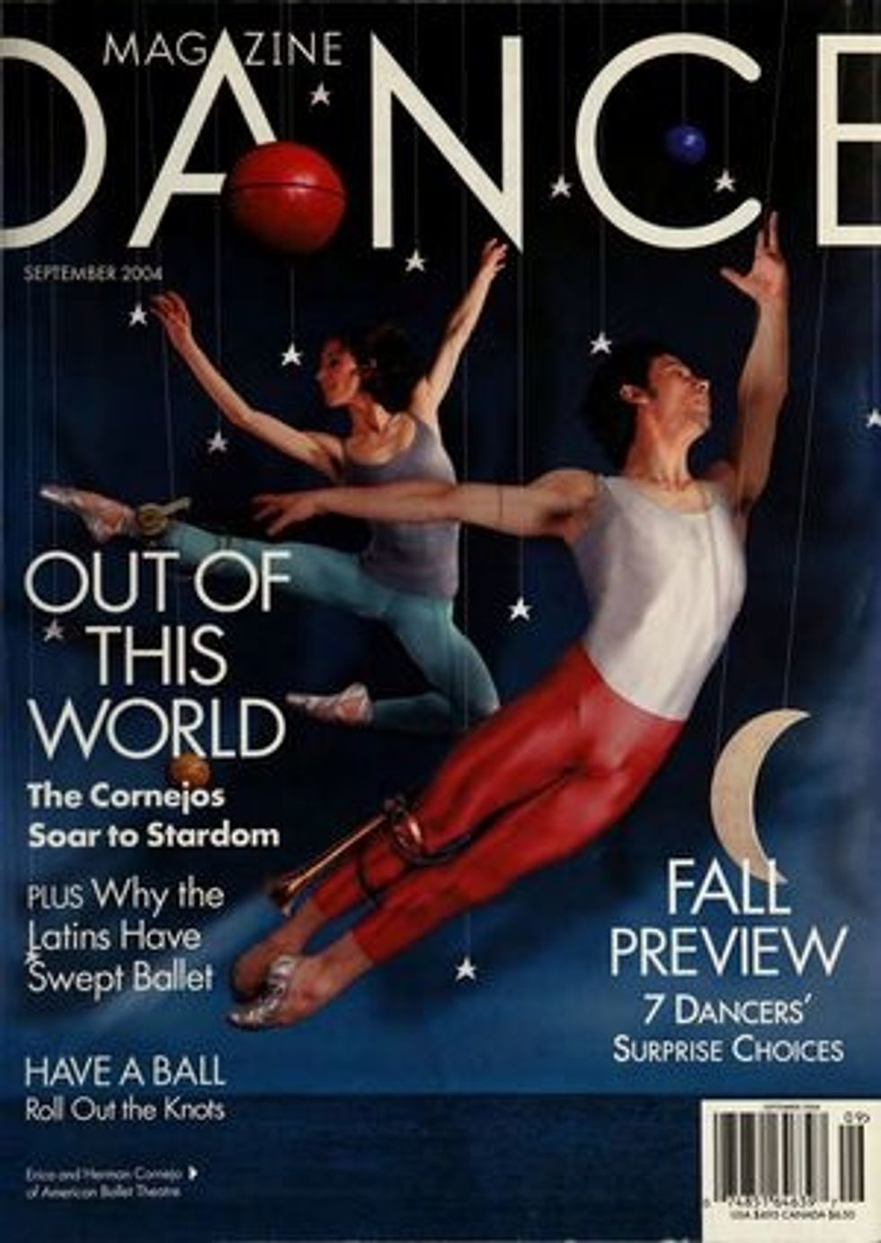 A Dance Magazine cover featuring the Cornejos leaping among illustrated planets and stars